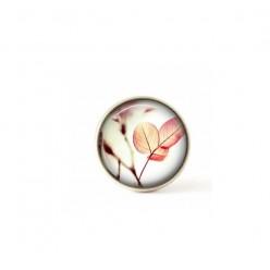 Bouton / Cabochon pour bijoux interchangeables feuillage rose.