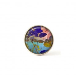 Interchangeable clip on buttons blue and pink leaves