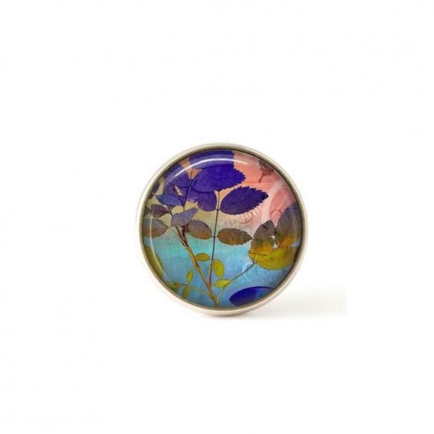 Bouton / Cabochon pour bijoux interchangeables-feuillage bleu