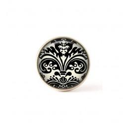 Bouton / Cabochon pour bijoux interchangeables- Damassée noir et crème 2.