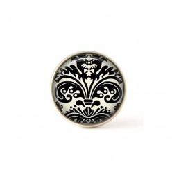 Interchangeable clip on buttons featuring a black and white damask theme 2
