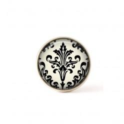 Bouton / Cabochon pour bijoux interchangeables- Damassée noir et crème 1.