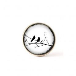 Bouton / Cabochon pour bijoux interchangeables- Oiseau sur la branche Blanc.
