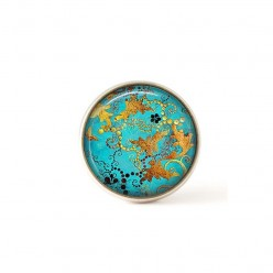 Interchangeable clip on buttons turquoise and gold abstract
