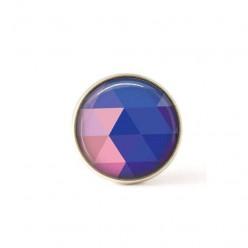 Bouton / Cabochon pour bijoux interchangeables- triangles bleus