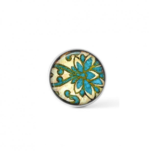 Interchangeable clip-on button with an abstract damask theme in green and turquoise