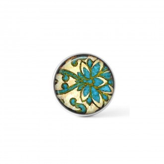 Interchangeable clip on buttons with an abstract damask theme in green and turquoise