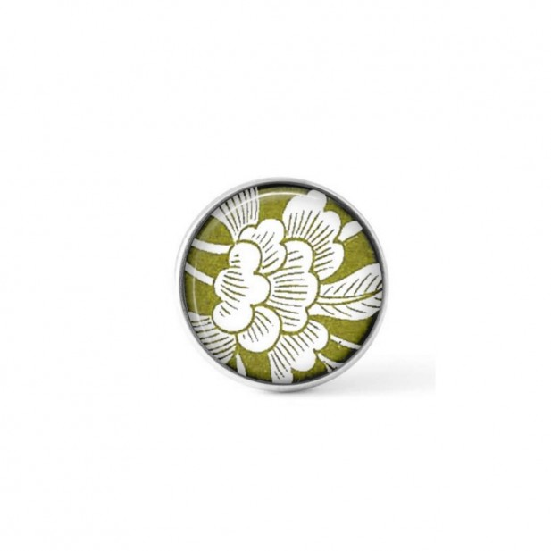 Interchangeable clip-on button with a green and white Japanese floral theme