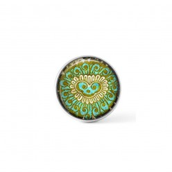 Interchangeable clip on buttons with an abstract green Indian theme