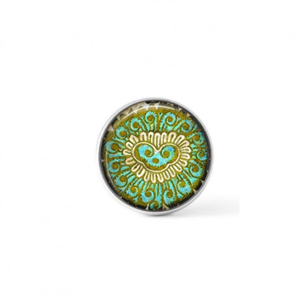 Interchangeable clip-on button with an abstract green Indian theme