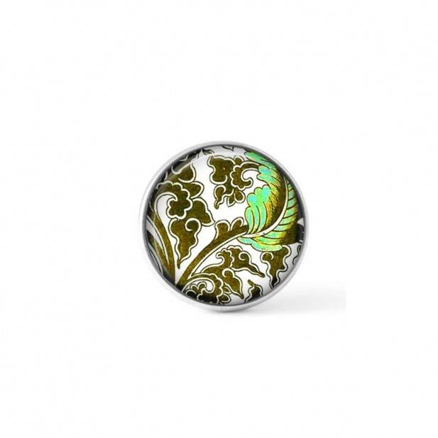 Interchangeable clip-on button with a baroque turquoise and khaki theme