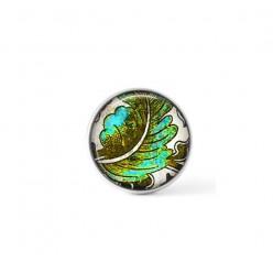 Bouton à clipser interchangeable sur le thème des feuilles turquoise et kaki