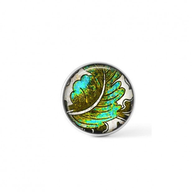 Interchangeable clip-on button with a turquoise and khaki leaf theme