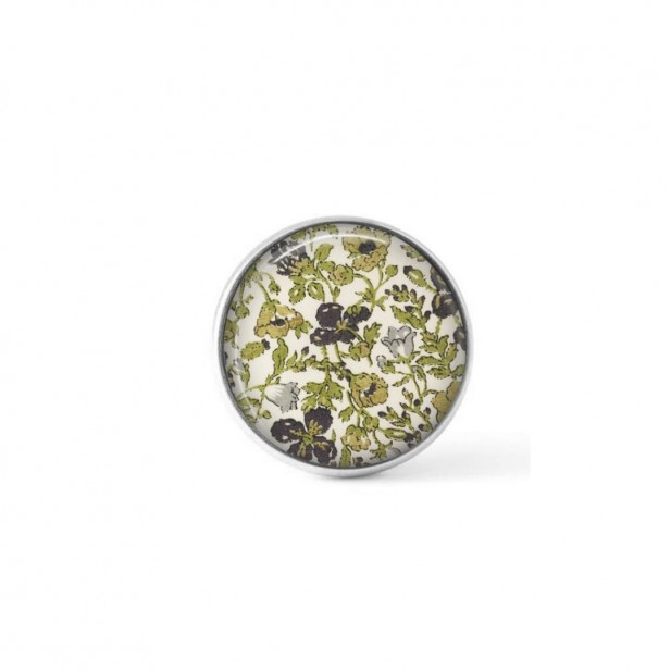 Cabochon/Button for Interchangeable Jewelry - Liberty's Meadow green floral theme