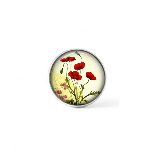 Interchangeable clip on button with a green and red botanical design
