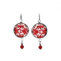 Red damask themed beaded dangle earrings