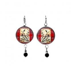 Red grunge winter land themed beaded dangle earrings