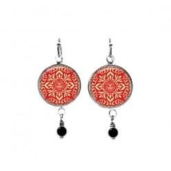 Boucles d'oreilles pendantes avec perles sur le thème du mandala japonais rouge