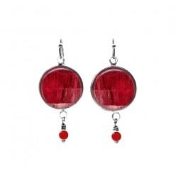 Red strings themed beaded dangle earrings