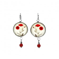 Botanical poppies themed beaded dangle earrings