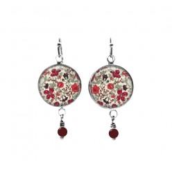Boucles d'oreilles pendantes avec perles sur le thème floral Liberty's Meadow Rouge