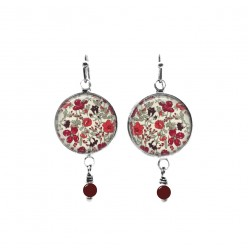Liberty's Meadow Red floral themed beaded dangle earrings