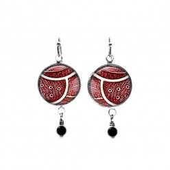 Red abstract feathers themed beaded dangle earrings