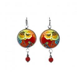 Boucles d'oreilles pendantes à thème floral rouge et jaune avec perles
