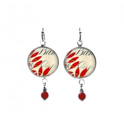 Red leaves and script theme beaded dangle earrings