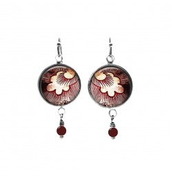 Boucles d'oreilles pendantes avec perles sur le thème de plumes rouges Vintage grunge