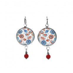 Beaded dangle earrings with a red and blue parasols theme