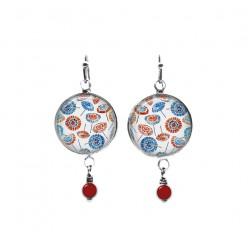 Boucles d'oreilles pendantes en perles sur le thème des parasols rouges et bleus
