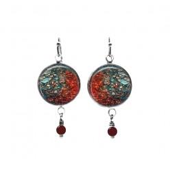 Boucles d'oreilles pendantes avec perles sur le thème de la rouille et de la turquoise