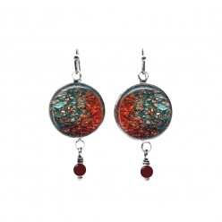 Rust and turquoise mineral themed beaded dangle earrings