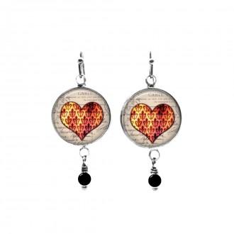 Damask hearts themed beaded dangle earrings