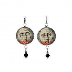 Moon face mixed-media themed beaded dangle earrings