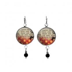 Polka dots and script themed beaded dangle earrings