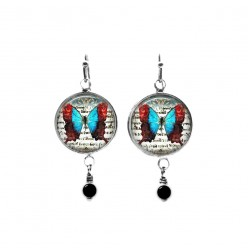 Red and turquoise vintage butterfly themed beaded dangle earrings