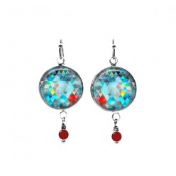 Turquoise and red triangles themed beaded dangle earrings