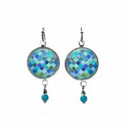 Turquoise mosaic themed beaded dangle earrings