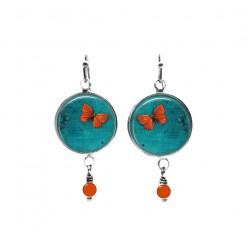 Pendants d'oreilles avec perles à thème papillon orange sur fond turquoise foncé