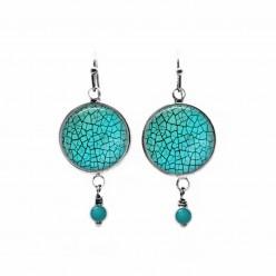 Boucle d'oreille perlée sur le thème turquoise craquelé