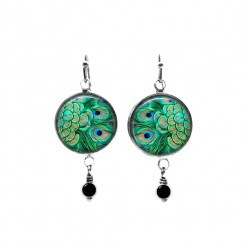 Beaded dangle earrings featuring an emerald green peacock feathers theme