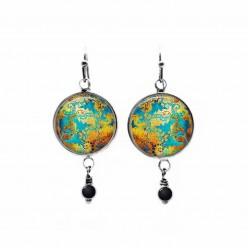 Boucles d'oreilles pendantes avec un thème abstrait or, cuivre et turquoise