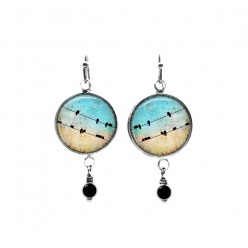 Birds on a wire and turquoise sky themed beaded dangle earrings