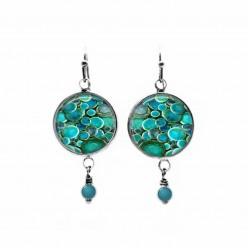Deep turquoise rounds themed beaded dangle earrings