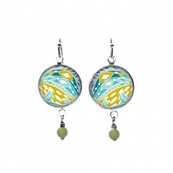 Turquoise and anise abstract design beaded dangle earrings