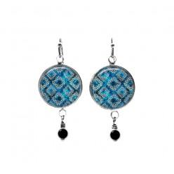 Turquoise blue batik themed beaded dangle earrings