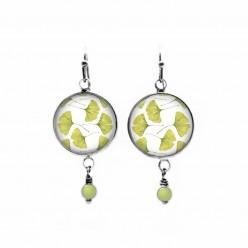 Ginkgo leaf themed beaded dangle earrings