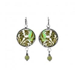 Pendants d'oreilles avec perles sur le thème des feuilles turquoise et kaki